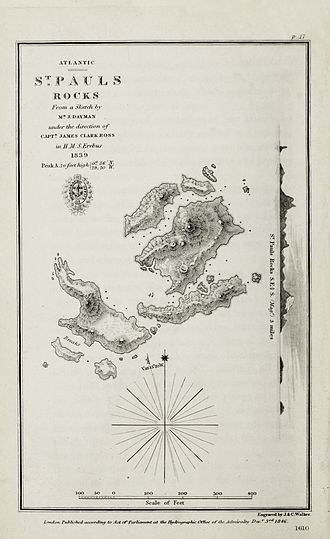 Saint Peter and Saint Paul Archipelago - Chart of 1839 by HMS Erebus