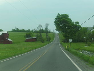 Pennsylvania Route 296 - PA 296 approaching its northern terminus with PA 247 in Clinton Township