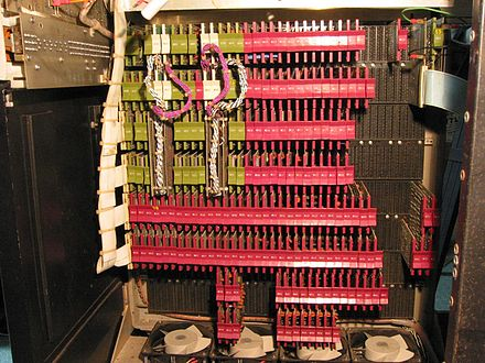 CPU, core memory and external bus interface of a DEC PDP-8/I, made of medium-scale integrated circuits PDP-8i cpu.jpg