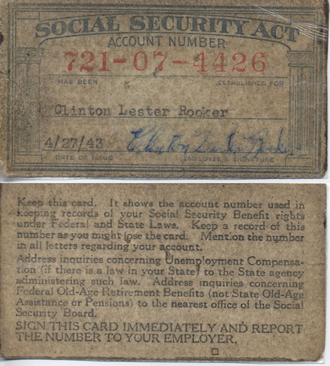Social Security number - A Social Security card issued by the Railroad Retirement Board in 1943 to a now deceased person.