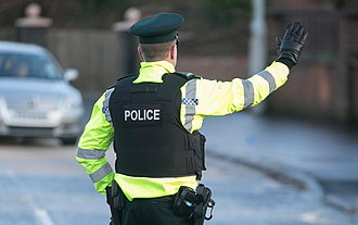 Police Service of Northern Ireland - A PSNI Constable directing traffic