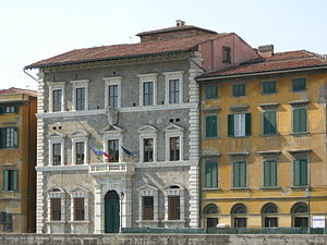 University of Pisa - Palazzo alla Giornata on the riverbank Lungarno Pacinotti, home of the Rectorate