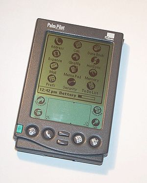 Home screen - The home screen on a PalmPilot Professional