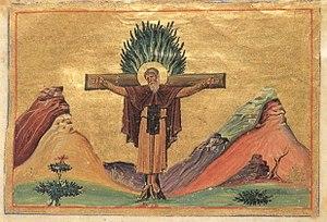 September 25 (Eastern Orthodox liturgics) - Image: Paphnutius of Egypt (Menologion of Basil II)