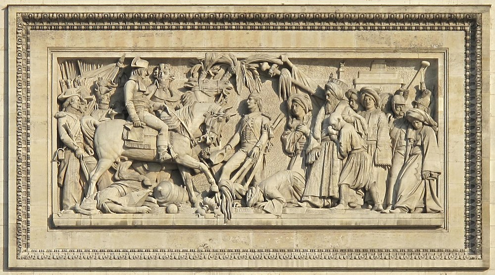 """The Battle of Aboukir"", relief by Bernard Seurre on the South Facade of the Arc de Triomphe, Paris. Paris Arc de Triomphe Bataille d'Aboukir.jpg"
