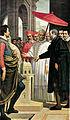 Passignano, michelangelo presenta a paolo IV il modellino per san pietro.jpg