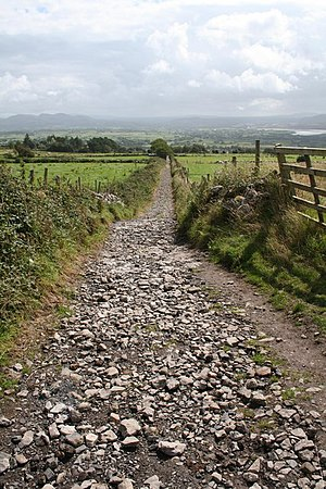 English: Path down from Maeve's Grave. The wel...