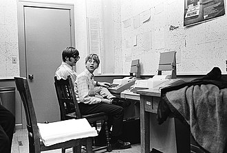 April 4: Allen and Gates four years prior to the founding of Microsoft Paul Allen and Bill Gates at Lakeside School in 1970.jpg
