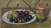 Paul Cézanne - Plate with Fruit and Pot of Preserves (Assiette avec fruits et pot de conserves) - BF50 - Barnes Foundation.jpg