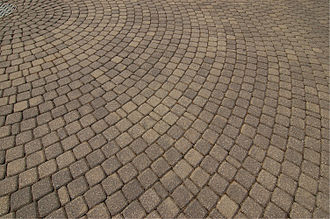 Pavement (architecture) - Concrete paver blocks laid in a circular pattern
