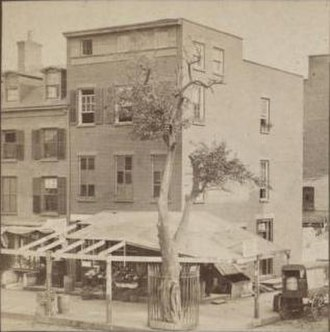 "Kiehl's - The corner of Third and East 13th Street, known as ""Pear Tree Corner,"" in what is now the East Village of Manhattan circa 1900, where Kiehl's has been located since its founding in 1851."