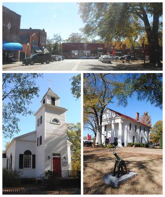 Pendleton, South Carolina - Top, left to right: Downtown Pendleton, Saint Paul's Episcopal Church, Farmers Hall