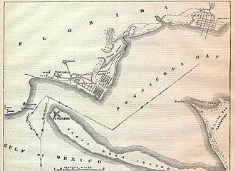 Battle of Santa Rosa Island - The harbor of Pensacola, Florida in 1861.