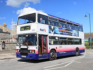 First South West - Preserved ECW bodied Leyland Olympian in the old livery at Penzance Bus Station in April 2012