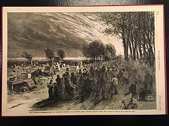 Lincoln Park - Image from Harper's Weekly of people escaping the Great Chicago Fire by fleeing to the cemetery in Lincoln Park