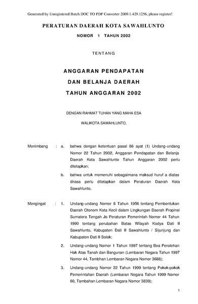 File Peraturan Daerah Kota Sawahlunto Nomor 1 Tahun 2002 Tentang Anggaran Pendapatan Dan Belanja Daerah Tahun Anggaran 2002 Pdf Wikimedia Commons