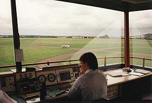 English: Perth Aerodrome Inside the control to...