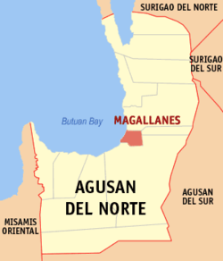 Map of Agusan del Norte showing the location of Magallanes