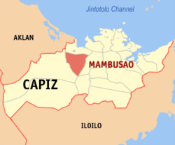 Map of Capiz with Mambusao highlighted