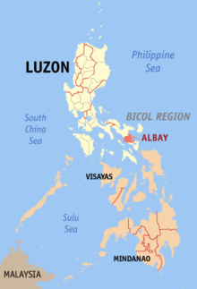 Map of the Philippines, with the Diocese of Legazpi in the Province of Albay highlighted