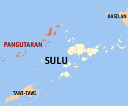 Map of سولو with Pangutaran highlighted