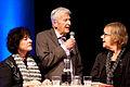 Pia Tafdrup, PO Enquist och Tua Forsstrom pa Nordiska radets seminarium, 50 ar med Nordiska radets litteraturpris, pa Bokmassan i Goteborg 201.jpg