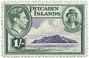 Fletcher Christian - Postage stamp, UK issue for Pitcairn Islands (1940) showing King George VI and an artist's interpretation of Fletcher Christian
