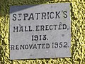 Plaque, St Patrick's Hall - geograph.org.uk - 1338719.jpg