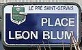 Plaque Place Léon Blum - Le Pré-Saint-Gervais (FR93) - 2021-04-28 - 1.jpg