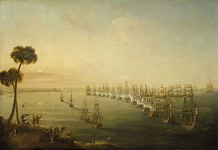 The Battle of the Nile, 1 August 1798, Nicholas Pocock, 1808, National Maritime Museum Pocock's Battle of the Nile.jpg