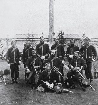 North-West Mounted Police - North-West Mounted Police officers, Fort Walsh, 1878; Commissioner James Macleod sat centre