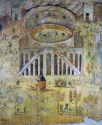 "Amphitheatre of Pompeii - Fresco - ""The Amphitheatre at Pompeii, depicting the riot between the Nucerians and the Pompeians"", Casa della Rissa nell'Anfiteatro, Pompeii, Italy"