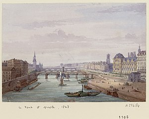Pont Notre-Dame - From the pont d'Arcole, a view of the bridge with 5 arches.