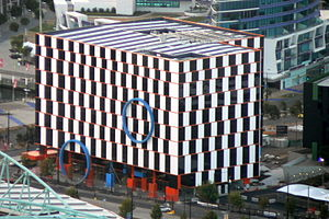 Café wall illusion - Architecture inspired by the café wall illusion, at Melbourne Docklands.