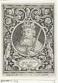 Portret van Karel de Grote in medaillon binnen rechthoekige omlijsting met ornamenten Carolus Magnus (titel op object) De negen besten (serietitel), RP-P-1888-A-12834.jpg