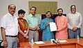 Prakash Javadekar receiving a letter from Shri Tarun Vijay, MP, Rajya Sabha, Uttarakhand, pledging Rs. 1 crore from MPLADS for renovation, development and upkeep of Rangers' Ground in Dehradun, Uttarakhand, in New Delhi.jpg