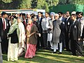 Pratibha Devisingh Patil, the Vice President, Shri Mohd. Hamid Ansari, the Prime Minister, Dr. Manmohan Singh and his wife Smt. Gursharan Kaur, the Chairperson, UPA, Smt. Sonia Gandhi, the Chief Minister of Delhi.jpg