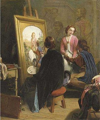 """Henry Nelson O'Neil - Henry O'Neil, """"The Pre-Raphaelite"""", a satire on the Pre-Raphaelites painted by O'Neil in 1857"""