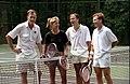 President George H. W. Bush plays tennis with Chris Evert, David Bates, and Tut Bartzen at Camp David.jpg