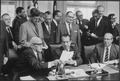 President Nixon signing Executive Order 11491, with labor leaders - NARA - 194659.tif