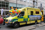 Pride in London 2016 - An ambulance decorated with balloons at Portland Place.png