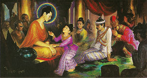 Prince Rahula asks the Buddha for his royal heritage.
