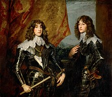 The picture consists of Charles Louis on the left and Rupert on the right, both in dark armour, stood against an open window with a billowing curtain.