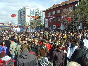 English: Independence celebration in Pristina,...