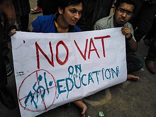 2015 Bangladesh student protests against VAT on education Protests by students of private universities in Bangladesh on demand to eliminate the vat imposed on higher education in private universities.
