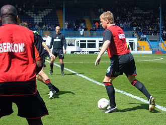Garry Monk - Monk warming up for Swansea before a League Two match at Bury during the 2004–05 season