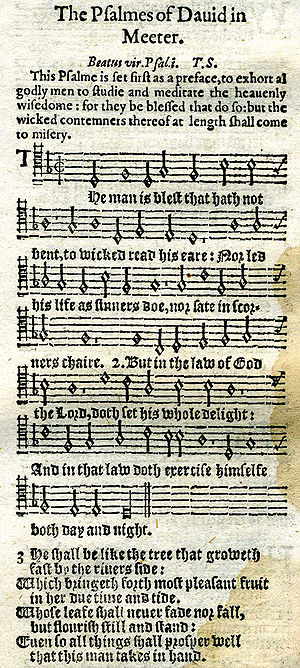 Thomas Sternhold - Psalm 1 in 1628 printing with tune, metrical version by Thomas Sternhold.