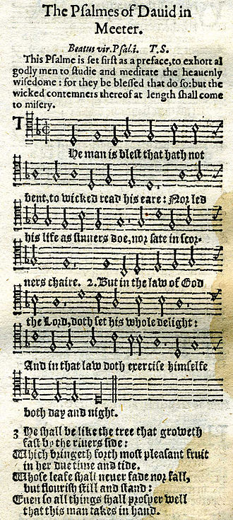 Psalm 1 in 1628 printing with tune, metrical version by Thomas Sternhold. Psalm 1 metrical 1628.jpg