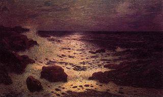 Clair de lune sur la mer et les rochers