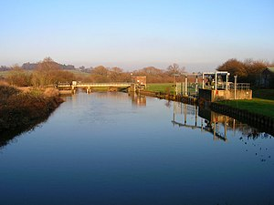 River Rother, West Sussex - The pumping station at Hardham, just above the junction with the River Arun